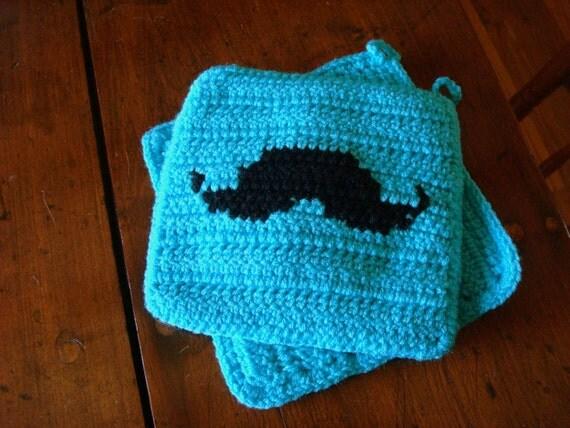 Turquoise Blue Mustache Potholders - Black Silhouette Mustache - Crochet Potholders, Pot Holders, Hot Pads, Trivet Set