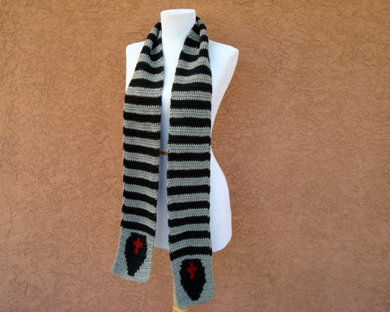 Coffin Scarf for Men or Women - Grey, Gray and Black Striped Scarf - Stripe Scarf - Crochet Scarf - Crocheted Scarves for Teenage Girls