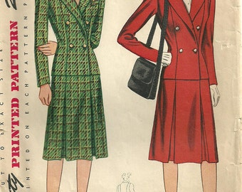 Simplicity 4358 Vintage 40s Sewing Pattern // Suit Jacket Skirt Size 12
