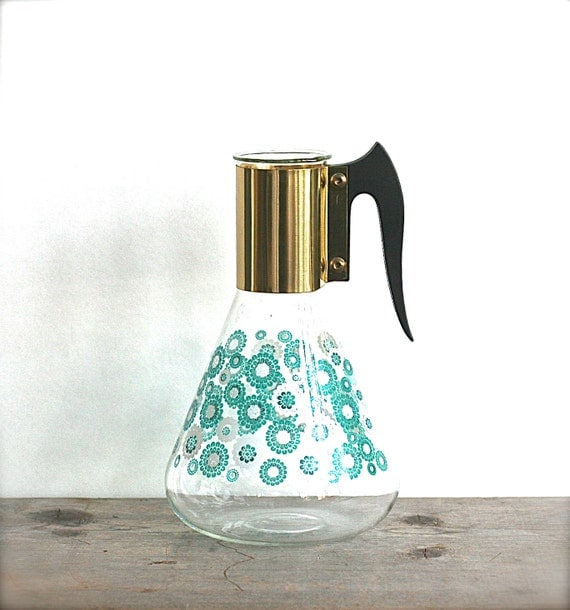 Mid Century Fred Press Corning Ware Carafe Pitcher Aqua