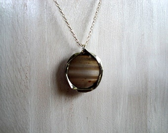 Sale - Brown Agate Necklace With Wire Ribbon Edge Detail