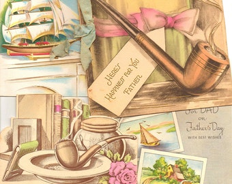 1940s-50s Father's Day Cards Vintage Mid Century Greeting Card Set of 4 Nostalgic Scrapbooking Party Supply Mixed Media Altered Art Project