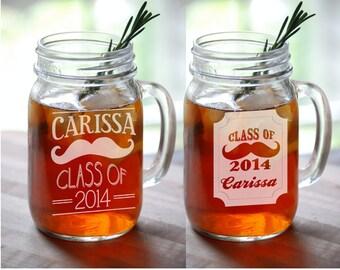 Class Of 2017 Mustache Designs Gift Engraved Mason Jar Mugs Graduation Personalized Drinking Mug Glass Etched