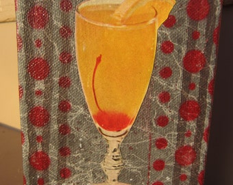 happy hour - original painting with WWII era collage