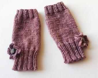 SALE - Hand Knit Fingerless Gloves with Crochet Flower in Hand Dyed Yarn, Purple Heather