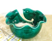 Large Yarn Bowl, Emerald Green Ceramic Knitting Bowl, Wheel thrown by Marietta modern twisted leaf BlueRoomPottery