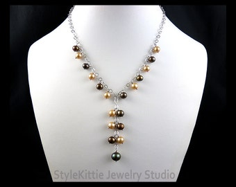 Pearl Y Necklace, 925 Sterling Silver, Light and Dark, Mocca, Chocolate Brown, Beige, Champagne, Cultured, Chain, Adjustable, Lightweight