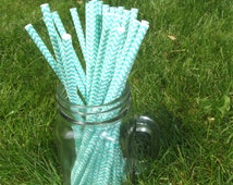 25 Paper Straws Aqua Blue Robins Egg Blue Chevron Print favor Great in Mason Jar Mugs with Daisy Lids! Turquoise