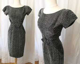 "Chic 1950's Black and Silver Lurex Cocktail Dress w/ 3D Rose by ""Rhoda Originals NY"" Pinup Vixen Curvy Hourglass Rockabilly Size-Small"