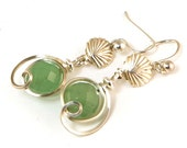Green Aventurine Sterling Silver Small Drop Earrings with Silver Shell, Small Green Stone Dangle Earrings
