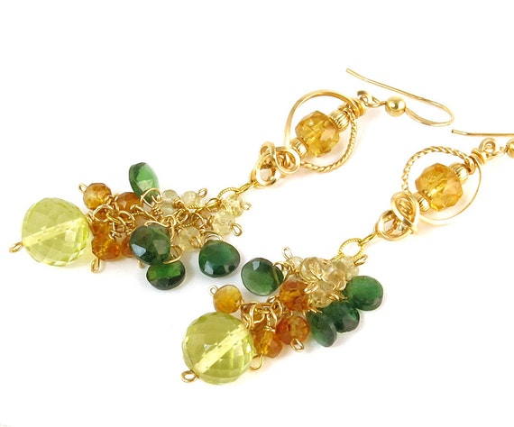 RESERVED LISTING Green and Yellow GemStone Earrings Gold Filled, Multi Stone Long Dangle Earrings