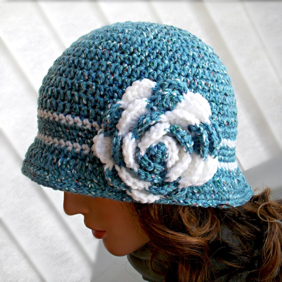 Crocheted Cloche Hat - Blue Fleck, White, Rose Brooch, Flapper Hat, Spring, Stylish, Boutique