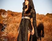 LAST ONE SALE: The Black & Metallic Gold Stripe Tunic Dress by Opal Moon Designs (Size L)