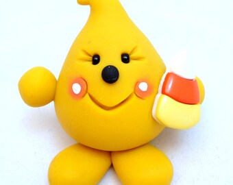 Parker Figurine with Candy Corn - Autumn Fall Halloween Themed Polymer Clay Character