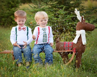Baby Boy Christmas Outfit. Chevron Tie and suspender outfit