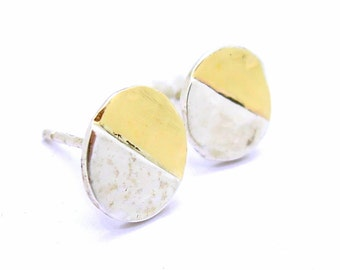 Round hammered gold & silver post earrings