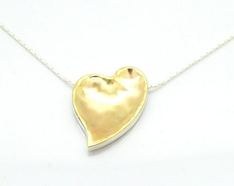 Heart pendant necklace brushed gold on sterling silver