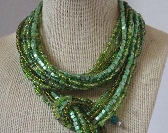 Green Self Tie Necklace