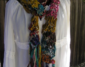 UNIQUE Hand-Knitted Vintage Sari Silk Ribbon & Nettle Yarn Scarf with Fringe - Multi Colored Jewel Tones  FREE SHIPPING!