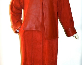 GIANNI VERSACE Vintage Suede Coat Butter Soft Red Leather Full Length Jacket - AUTHENTIC -