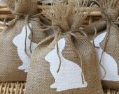 Easter, Burlap Treat Bags or Favor Bags, Set of Six, Baby Shower, Birthday Party, Shabby Chic Gift Wrapping, Bunnies, Rabbits.