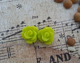 Flower Plugs Gauges Lime Green Roses