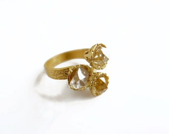 Gold Herkimer Ring, Herkimer Diamond Ring, Three Stone Ring Adjustable
