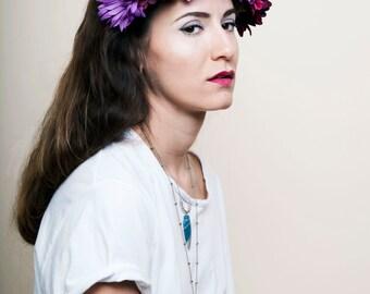 Floral Crown, Gerbera Daisy Headpiece, Flower Crown in Burgundy Purple and Pink