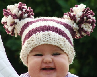 Hat Knitting pattern PDF - Pom Pom Hat Pattern - Jester Hat Pattern