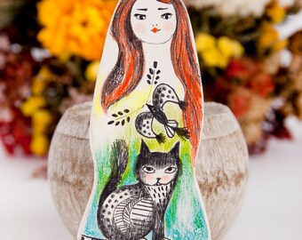 Cat and Bird Brooch, Little Girl Pin, Miniature Cat, Folk Inspired , Animal Jewelry, Katze Brosche, Broche Chat, Miniature, Air Dry Clay