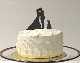 MADE In USA, Silhouette Cake Topper With Pet Dog, 48 Different Dogs to Choose, Family of 3 Silhouette Wedding Cake Topper Bride and Groom