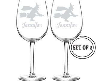 2 Personalized HALLOWEEN Wine Glasses Gift Etched Wine Glass Halloween Gift Wedding Gift Halloween Party Witch Wine Glass Cocktail Glasses