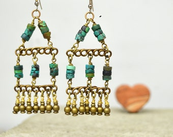 Rustic Turquoise Heishi Bead Earrings