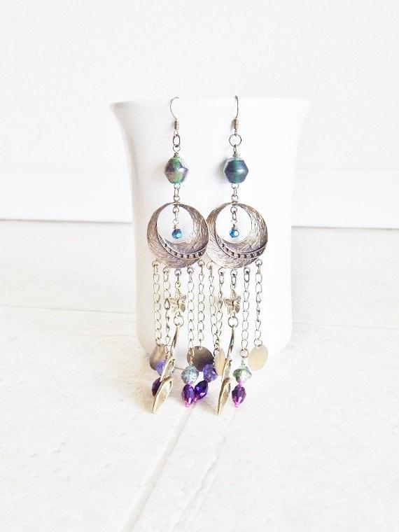 Gypsy Earrings chandelier earrings long Dangle earrings bohemian style jewelry woodland flowers and leaves purple and green brass earrings
