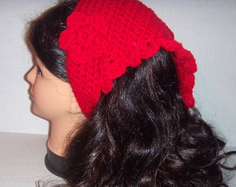 Red Crochet Headband, Crochet Kerchief , Bandanna, Womans Accessories, Hippie Bandana, Teen Accessories, MADE TO ORDER