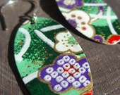 Dark Green Origami Oval Earrings