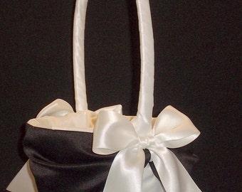 Black Accent  Wedding Flower Girl Basket White or Ivory