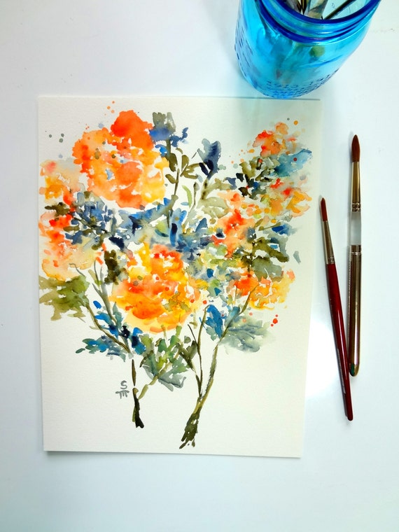 "A Touch of Tangerine No.2, Original Watercolor 9""x12"", Watercolor Flowers or Fine Art Print 8x10"