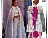 60s Yves Saint Laurent Empire Waist Dress Maxi Cocktail Dress Cape Pattern Vogue Paris Original Sewing Pattern 1897 Bust 34 inches UNCUT FF