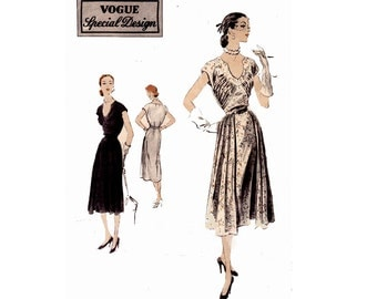 RARE 50s Draped Bodice Cocktail Dress Pattern Vogue Special Design 4212 Vintage Sewing Pattern Size 16 Bust 34 inches