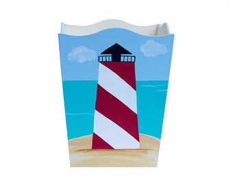 Wooden Waste Basket - Custom Hand Painted Children's Wood Garbage or Trash Can - Nautical Lighthouse or Any Kid's Theme