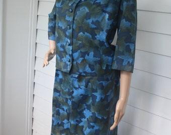 Blue Leaves Print Dress Suit Vintage 50s Jacket Skirt Set XL Plus