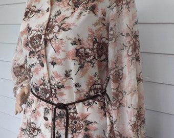 Hippie Floral Blouse Vintage 70s Print Top Button Down L