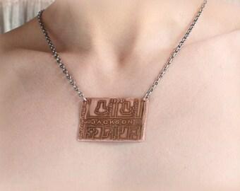 Etched Copper New Orleans - Jackson Avenue Pendant, Necklace
