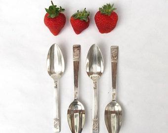 Set of Six Dessert Spoons in a Blue Box - Vintage Flatware / Tableware