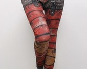 Armour Leggings - Size S Red - Printed Chainmail and Metal Tights