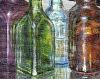 Original Acrylic Painting, Small Still Life Painting on Canvas, Colored Vintage Bottle Collection