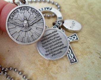 Come Holy Spirit, Prayer Charm Necklace, Catholic Jewelry