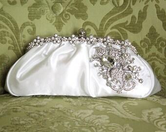 Ivory Clutch, Satin Bridal Clutch, WeddingClutch Purse, Vintage Style Bridal Clutch, Rhinestone Clutch,
