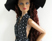 OOAK Black and white print backless halter jumpsuit & black floppy wide brim hat for 16 inch fashion dolls